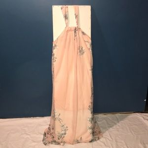 Wangezu peach floral maxi dress